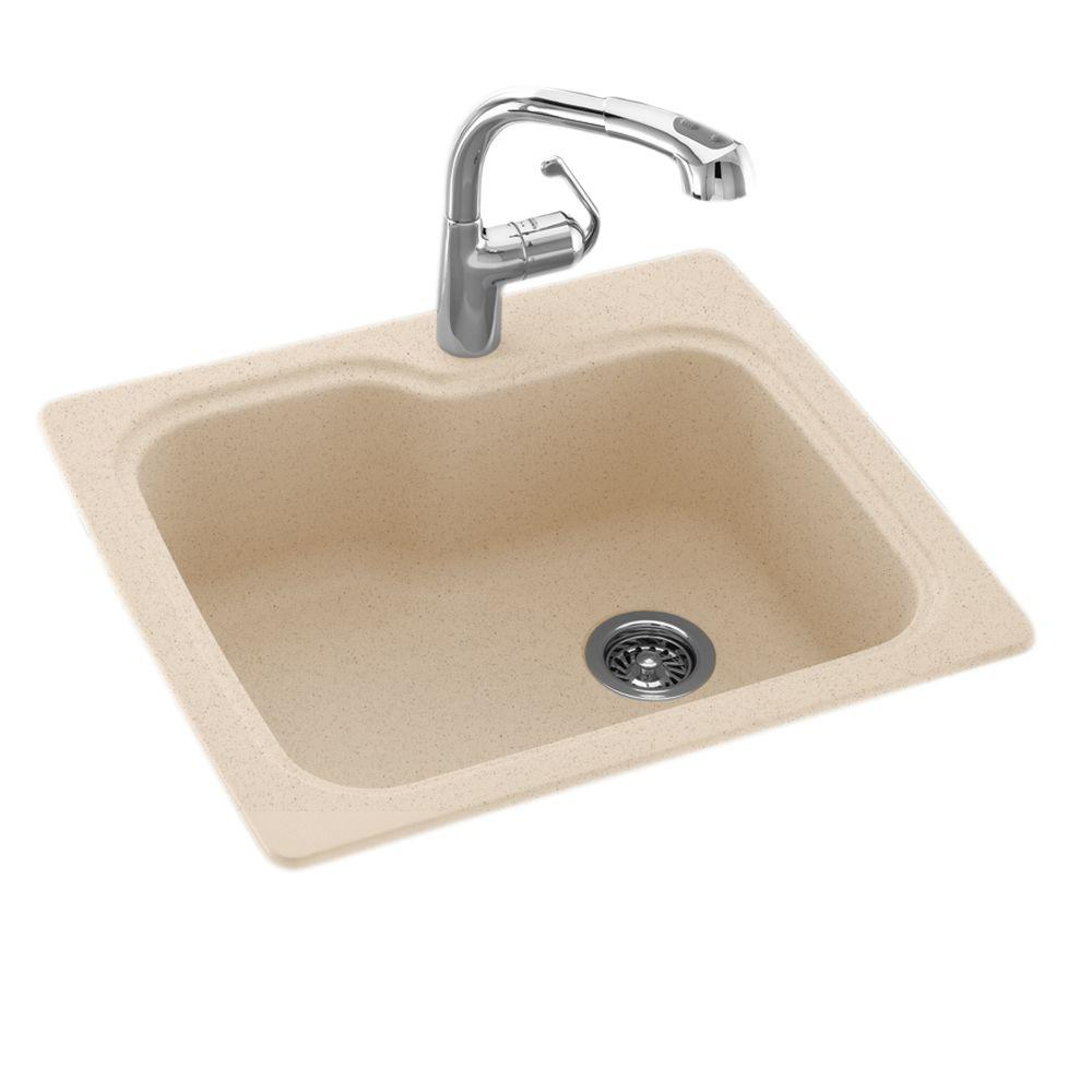 Drop in undermount solid surface 25 in 1 hole single bowl for Solid surface kitchen sink