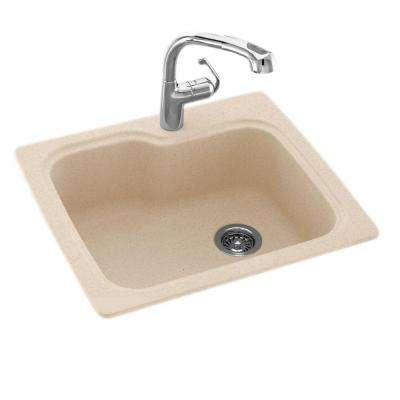 Drop-In/Undermount Solid Surface 25 in. 1-Hole Single Bowl Kitchen Sink in Bermuda Sand