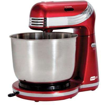 Dash Go 3 Qt. 6-Speed Red Stand Mixer