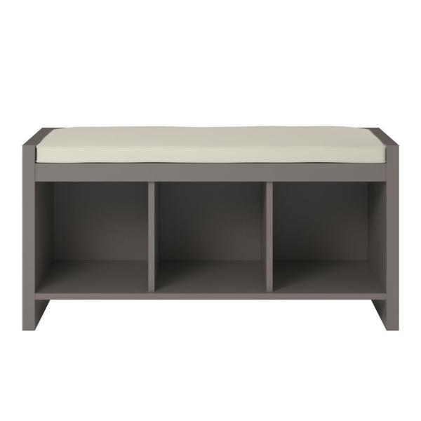 Pebblebrook Grey Taupe Entryway Storage Bench with Cushion 17.9 in. H x 35.9 in. W x 15.9 in. D
