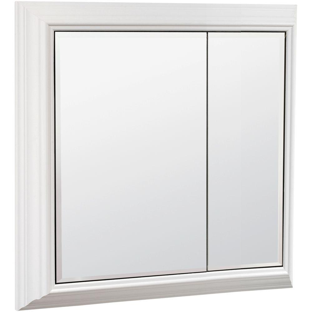 American Classics 27 in. x 27 in. Storage Mirror Surface-Mount Medicine Cabinet in White
