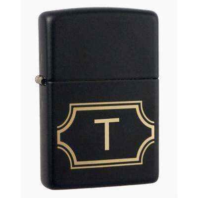 "Black Matte Lighter with Initial ""T"""