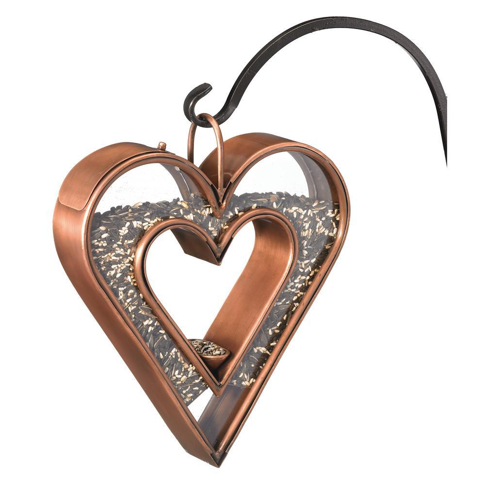 Copper Heart Fly-Thru Bird Feeder