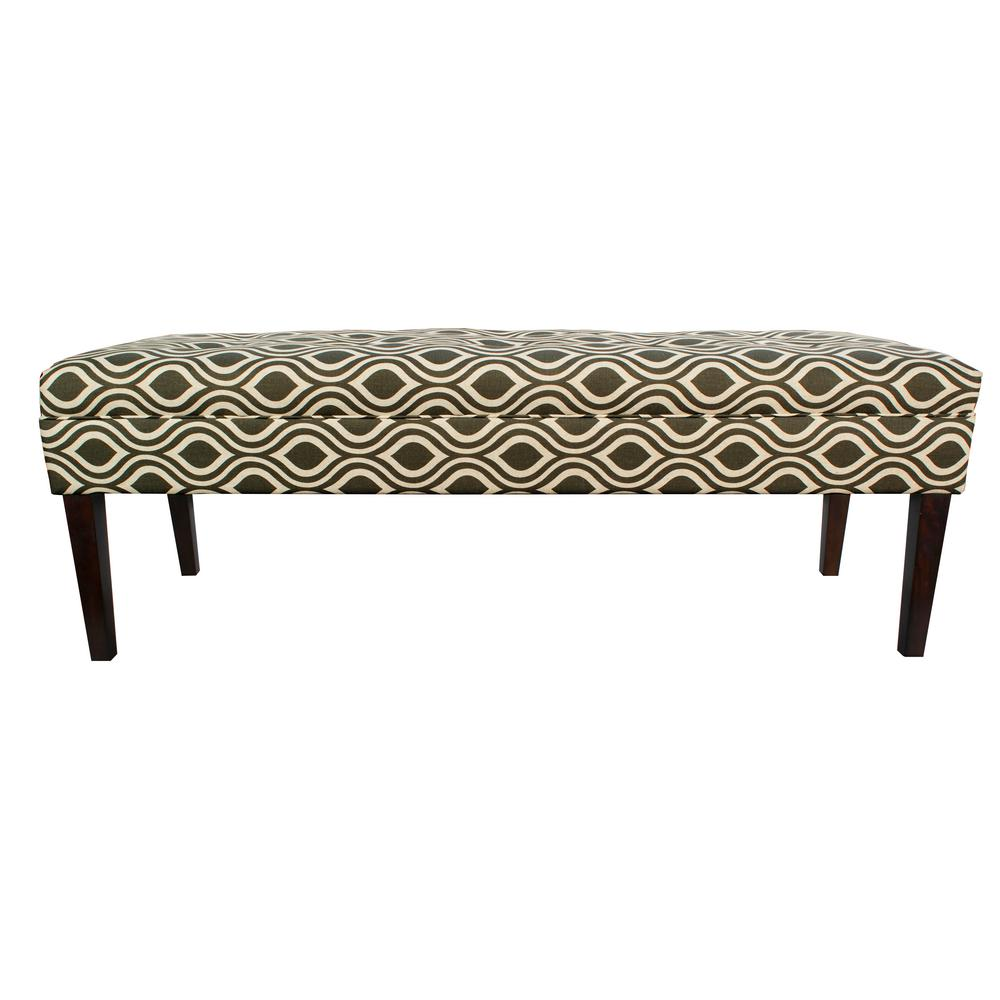 Kaya Nicole Gray Button Tufted Upholstered Bench