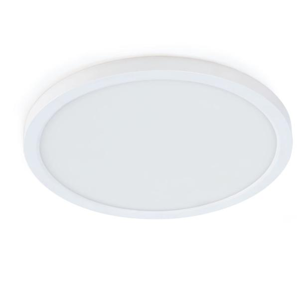 7.5 in. 12W Title 24 Dimmable White Integrated LED Round Flat Panel Ceiling Flush Mount with Color Change CCT (4-Pack)