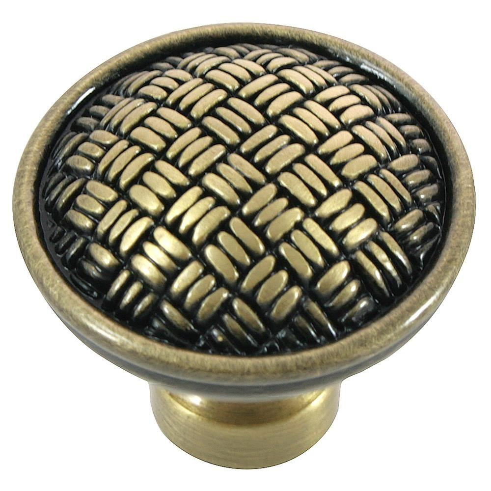 MNG Hardware 1-1/4 in. Satin Antique Brass Rattan Knob