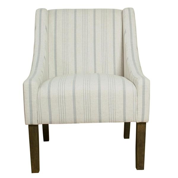Homepop Striped Dove Grey Poly-Linen Modern Swoop Accent Chair K6908-F2231