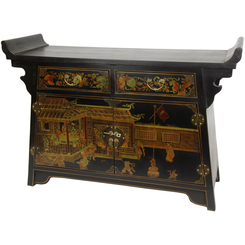 Oriental Furniture Black Lacquer Daily Life Altar Cabinet