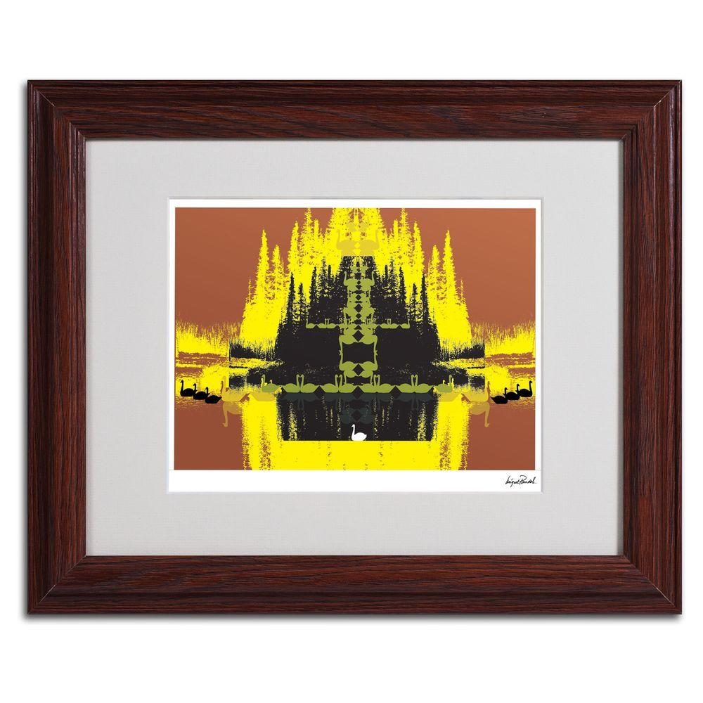 Trademark Fine Art 11 in. x 14 in. Yellow Trees Matted Framed Art
