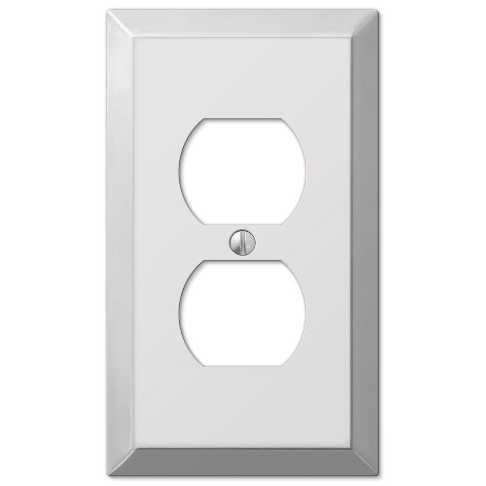 Metallic 1 Duplex Outlet Plate - Polished Chrome Steel