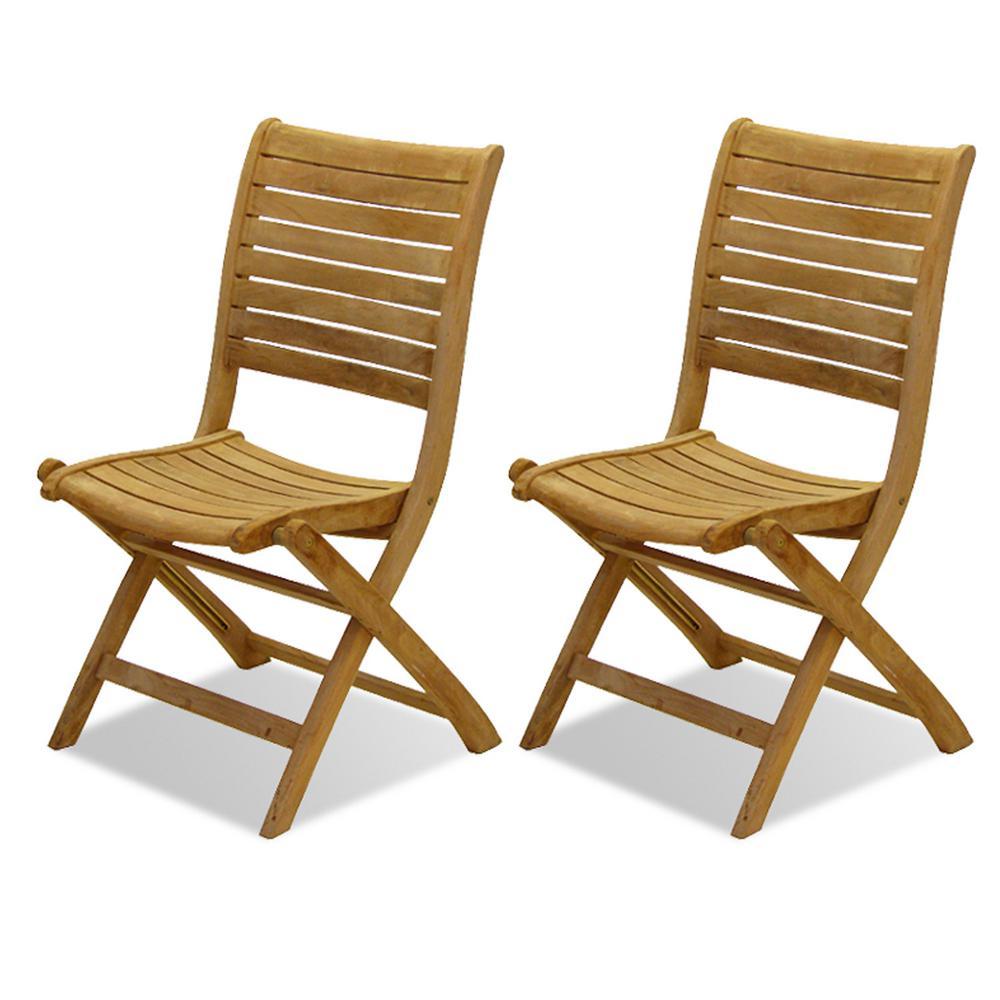 Dublin Folding Teak Outdoor Dining Chair in Light Brown (2-Pack)