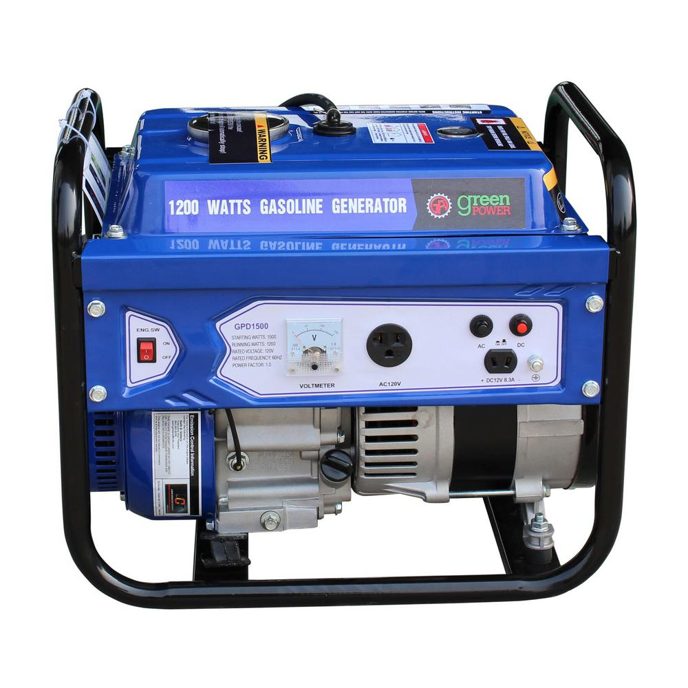 Green Power 1500/1200-Watt Gasoline Powered Recoil Start Portable Generator
