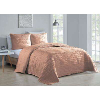 Spain 3-Piece Blush Queen Quilt Set