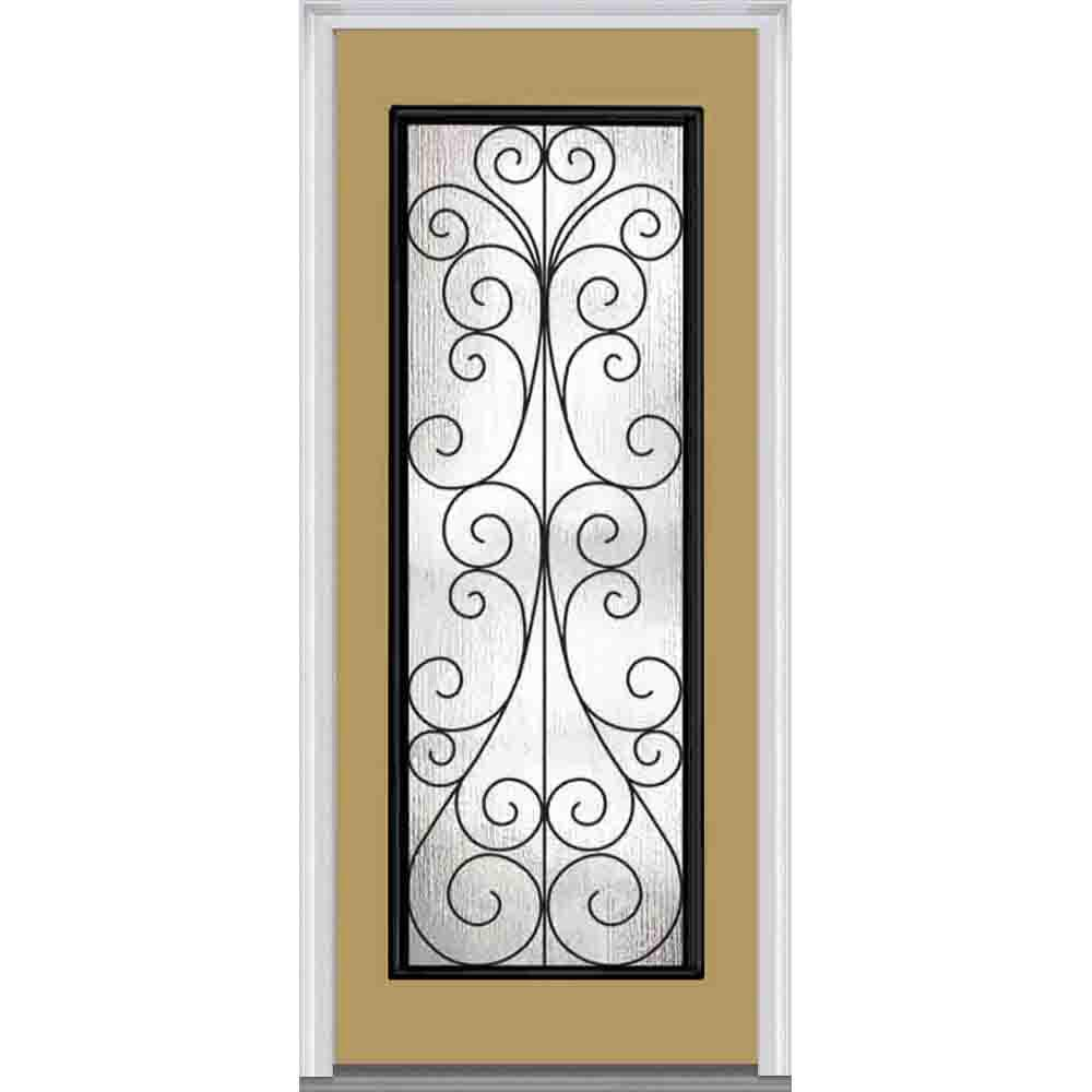 Mmi door 33 5 in x in camelia decorative glass for Full glass exterior door