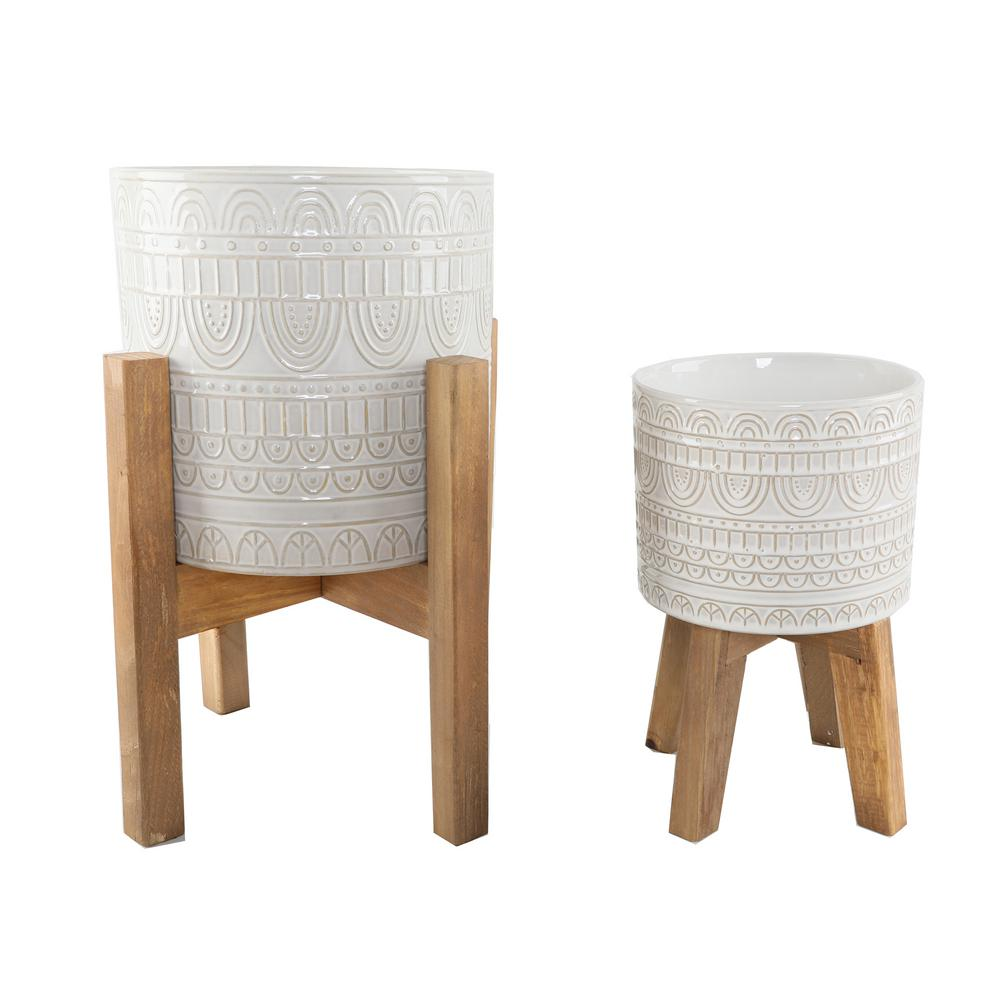 Flora Bunda 10 in. and 8 in. Ivory White Aqueduct Ceramic Plant Pot on Wood Stand Mid Century Planter (Set of 2)