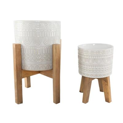 10 in. and 8 in. Ivory White Aqueduct Ceramic Plant Pot on Wood Stand Mid Century Planter (Set of 2)