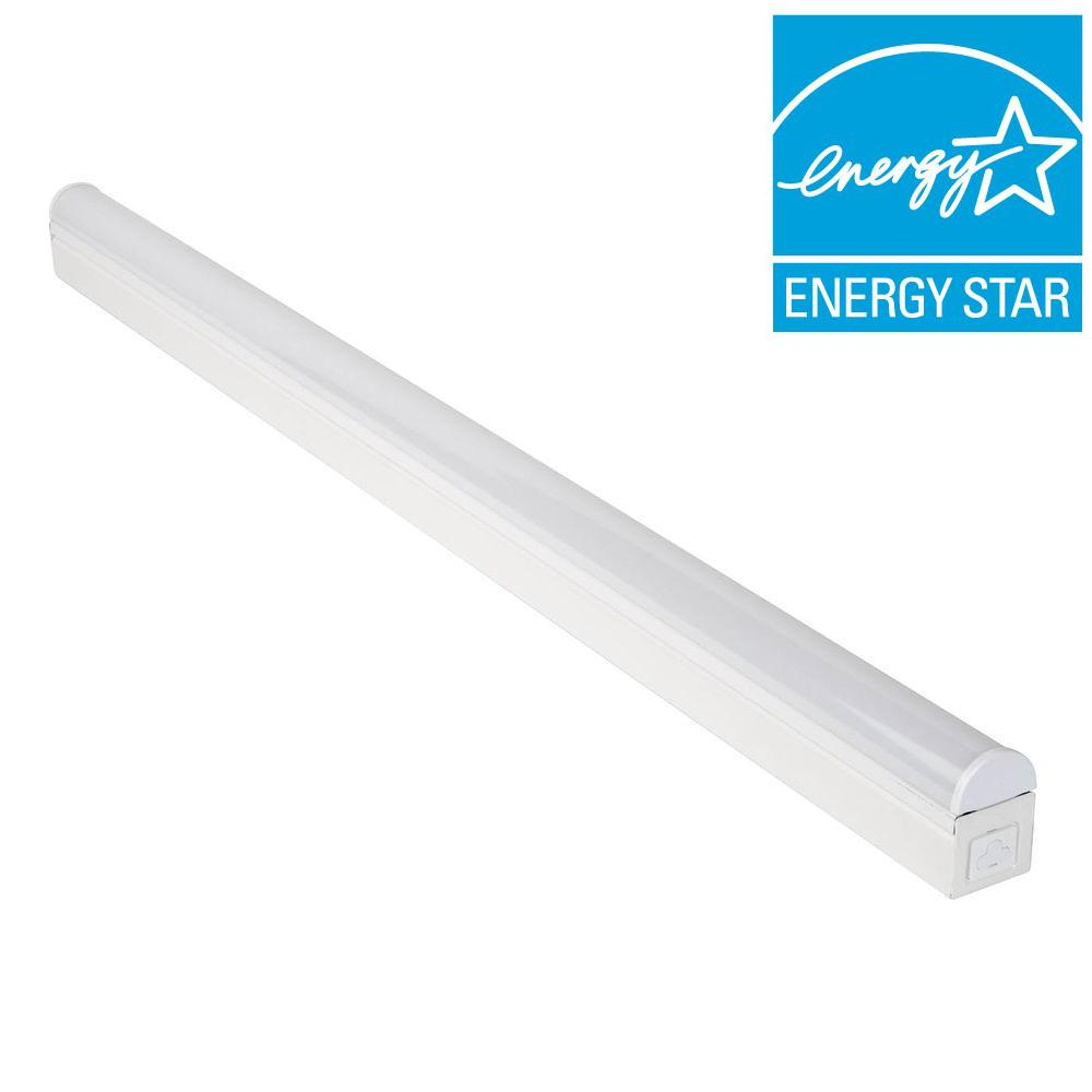 Commercial Electric 4 ft. Bright/Cool White LED Linkable Strip Ceiling Light Fixture with Plug In or Direct Wire Power Connection