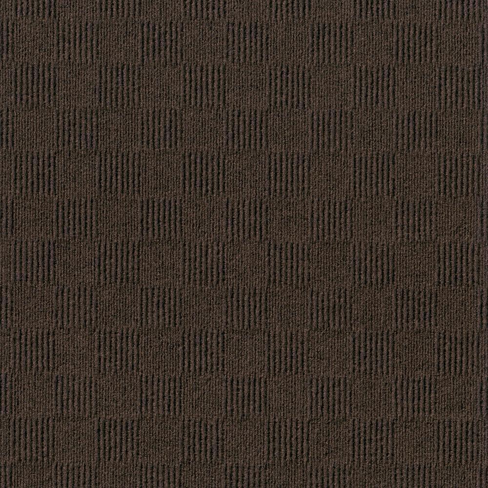 Foss Premium Self-Stick First Impressions City Block Mocha Texture 24 in. x 24 in. Carpet Tile (15 Tiles/Case)