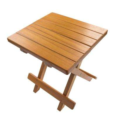 Groove Top Fold-Away Teak Table/Stool