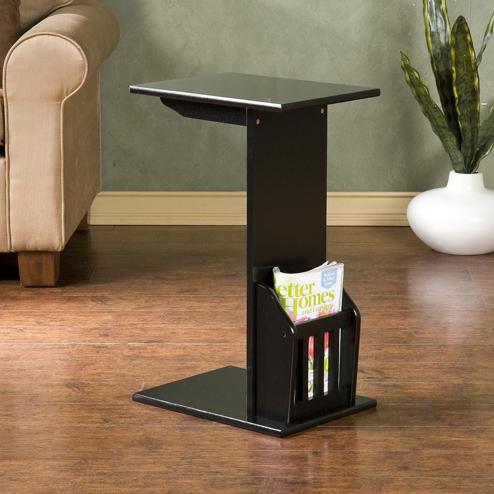 Southern Enterprises Black Storage End Table by