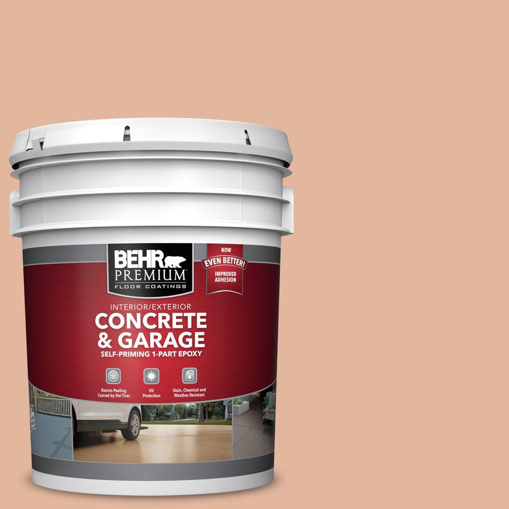 BEHR PREMIUM 5 gal. #PFC-06 Georgia Peach Self-Priming 1-Part Epoxy Satin Interior/Exterior Concrete and Garage Floor Paint