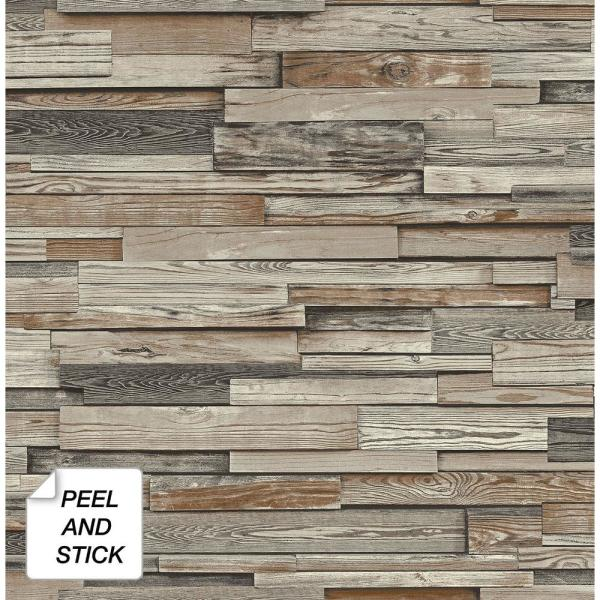Charcoal and Brown Reclaimed Wood Plank Peel and Stick Wallpaper 30.75 sq. ft.