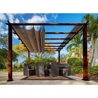 Paragon 11 ft. x 11 ft. Aluminum Pergola with the Look of Chilean Wood Grain Finish and Cocoa Color Convertible Canopy