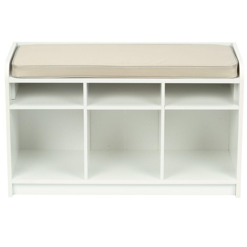 Martha Stewart Living 35 in. x 21 in. White Storage Bench with Seat
