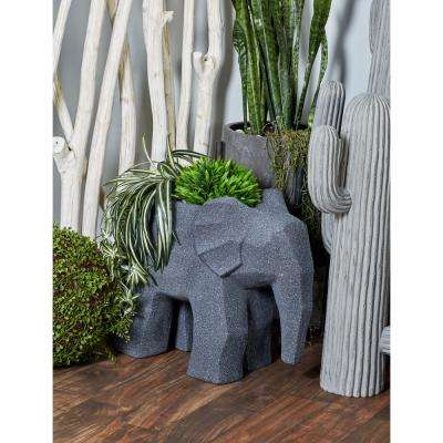 19 in. x 10 in. Distressed Black Fiber Clay Elephant Planter