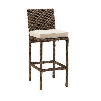 Bradenton Wicker Outdoor Bar Stools with Sand Cushions (2-Pack)