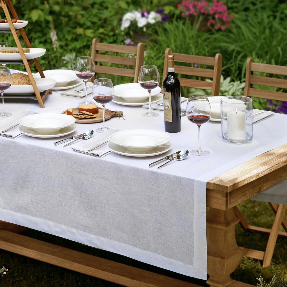 La Classica 70 in. W x 96 in. L Fabric Tablecloth in White