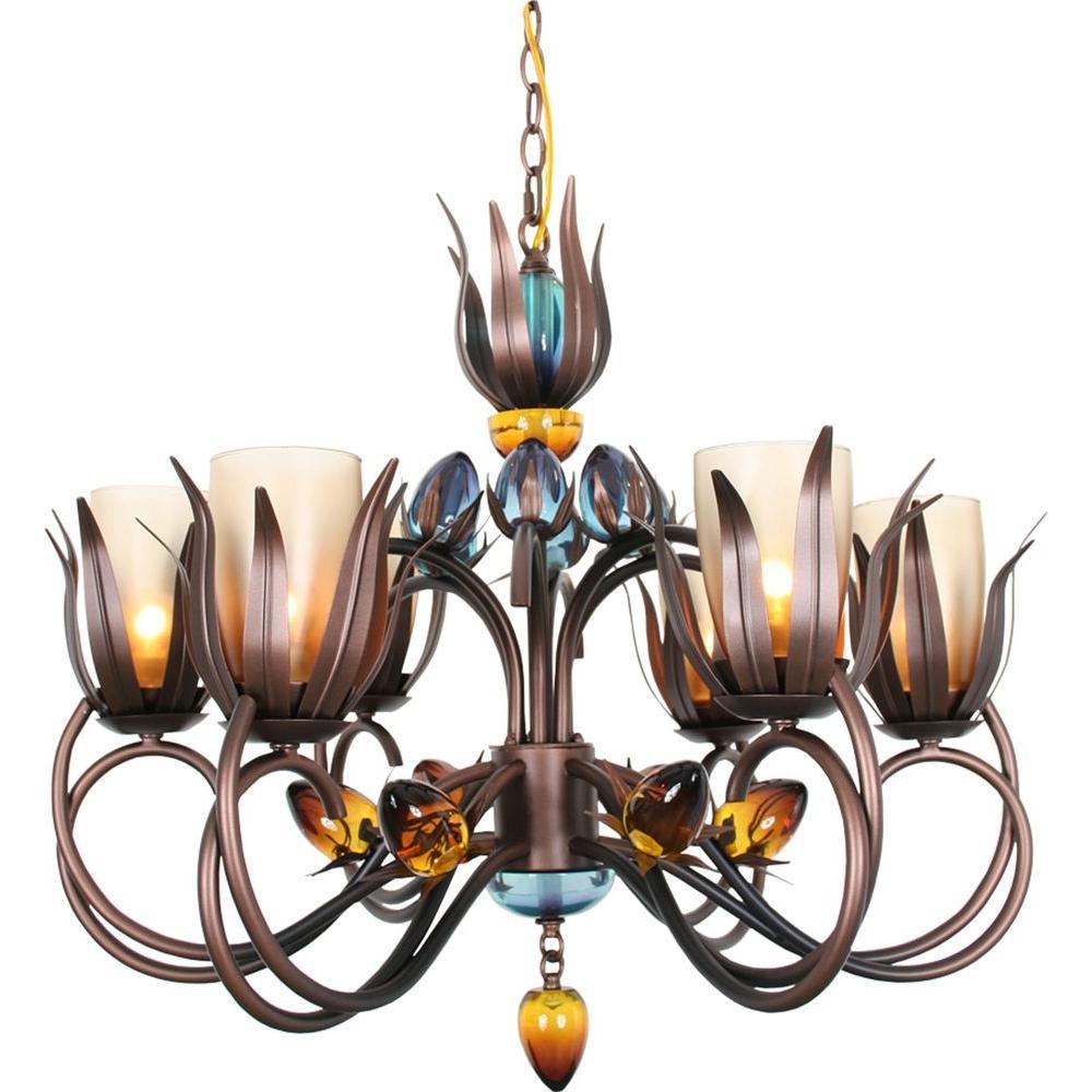 Century 6-Light Copper and Black Chandelier