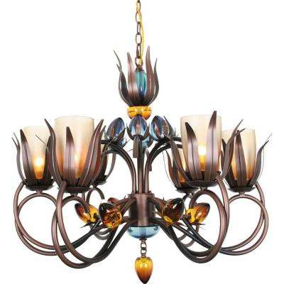 Century 6-Light Copper and Black Chandelier