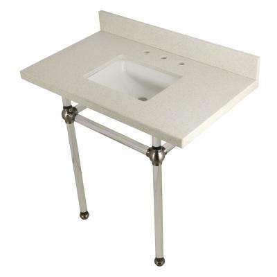 Square Sink Washstand 36 in. Console Table in White Quartz with Acrylic Legs in Satin Nickel