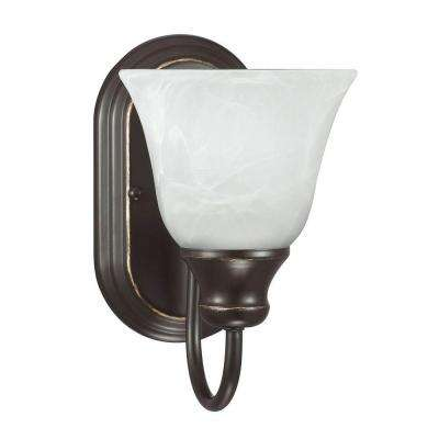 Windgate 1-Light Heirloom Bronze Wall/Bath Sconce with White Alabaster Glass
