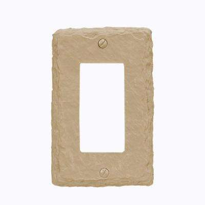 Faux Slate Resin 1 Decora Wall Plate - Almond