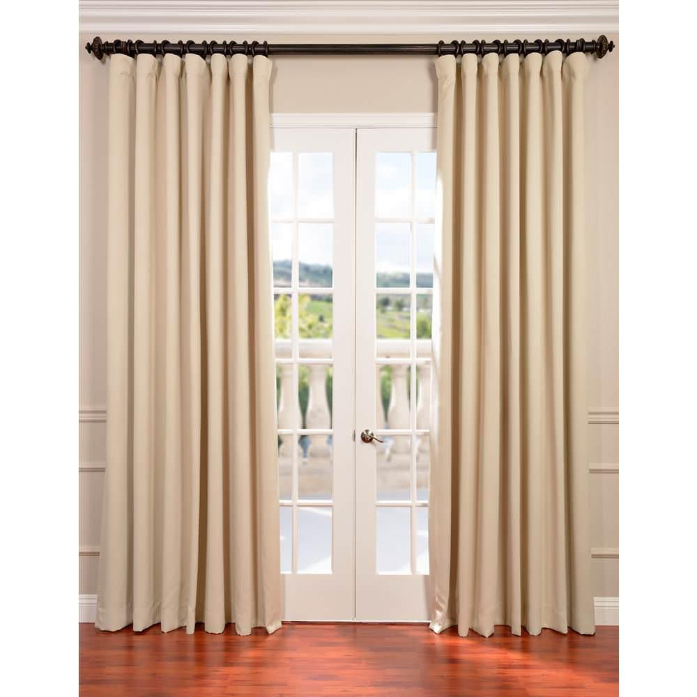 exclusive fabrics furnishings semi opaque eggnog ivory doublewide blackout curtain 100 in w. Black Bedroom Furniture Sets. Home Design Ideas