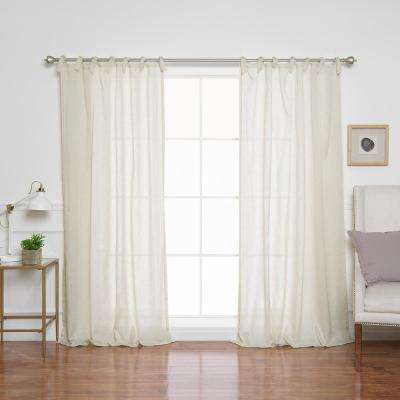 Natural Faux Linen Tie Top Panels - 84 in. L x 52 in. W (2-Pack)