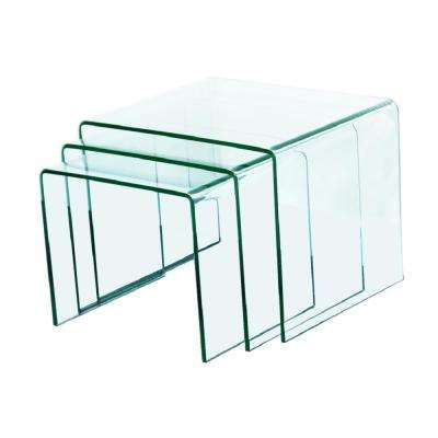 3/8 in. Thick 3-Pieces Clear Bent Glass Nest Tables