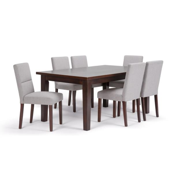 c78d270ff7 Ashford 9-Piece Dining Set with 6 Upholstered Dining Chairs in Cloud Grey  Linen Look Fabric and 54 in. Wide Table
