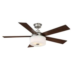 Home Decorators Collection Lindbrook 52 In Indoor Brushed Nickel Ceiling Fan With Light Kit And