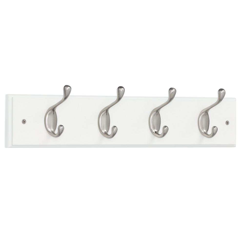 Liberty 18 in. White and Satin Nickel Heavy Duty Coat and Hat Hook Rack
