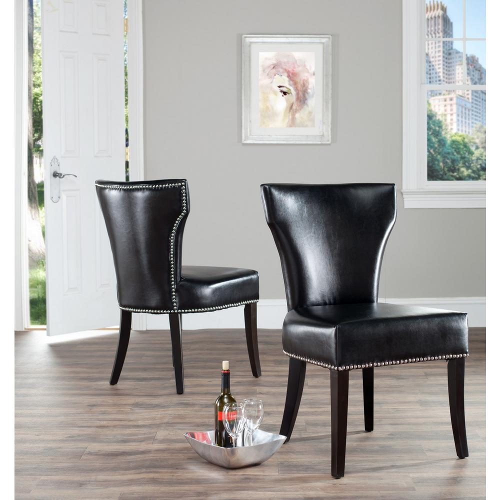 Pleasing Safavieh Jappic Black Espresso Bicast Leather Side Chair Inzonedesignstudio Interior Chair Design Inzonedesignstudiocom