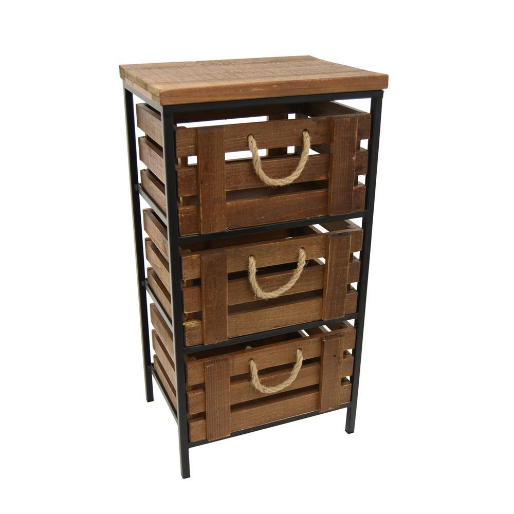 Brown Metal And Wood Storage Cabinet