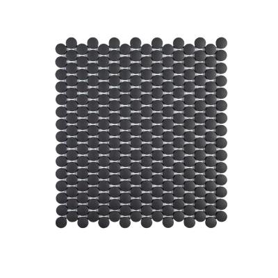 Shadow Mountain Gray 11.375 in. x 12.25 in. Penny Round Matte Porcelain Wall and Floor Mosaic Tile (0.967 sq. ft./Each)