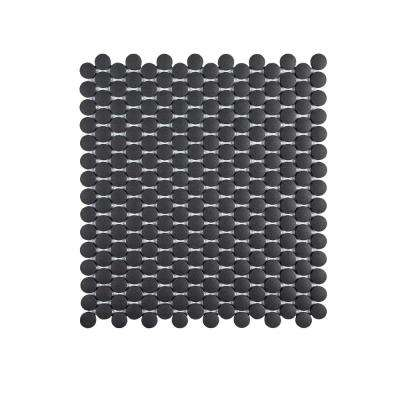 Shadow Mountain Gray 12.25 in. x 11.375 in. x 6 mm Penny Round Matte Porcelain Wall and Floor Mosaic Tile