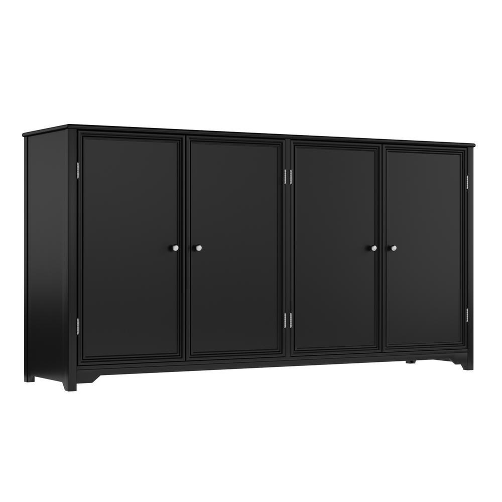 Home Decorators Collection Oxford Black 4 Door Storage Console Table