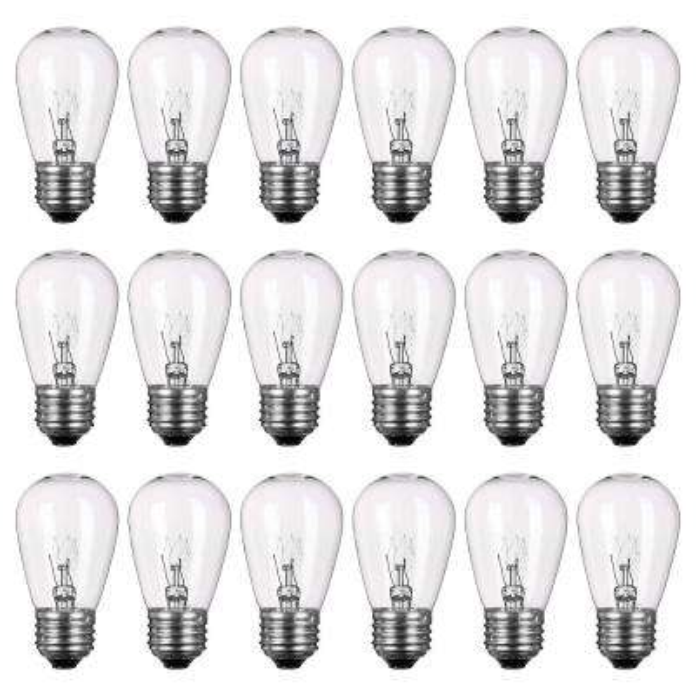 Outdoor Weatherproof 11-Watt S14 Incandescent Replacement String Light Bulb Standard Base (18-Pack)