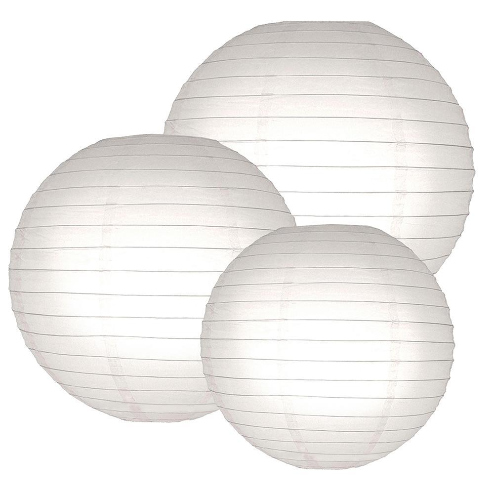 Lumabase Multi Size White Round Paper Lanterns (6-Count