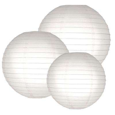 Multi Size White Round Paper Lanterns (6-Count)